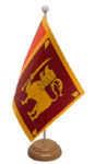 Sri Lanka Desk / Table Flag with wooden stand and base
